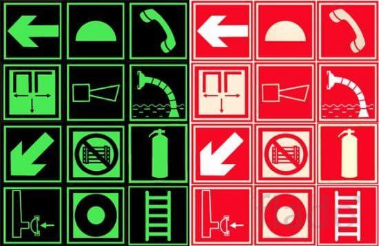 Фотолюминесцентные знаки пожарной безопасности