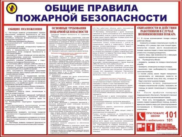 Требования правил пожарной безопасности